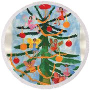 Merry Christmas Tree Fairies In Progress Round Beach Towel