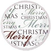 Merry Christmas Words Round Beach Towel