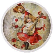 Merry Making Antique Girls In Red And White Grunge Round Beach Towel