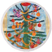 Merry Xmas Tree Fairies Round Beach Towel