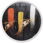 Message From The Future II. Round Beach Towel