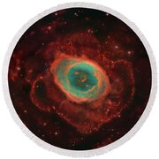 Messier 57, The Ring Nebula Round Beach Towel