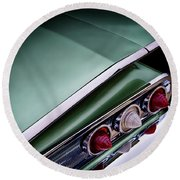 Metalic Green Impala Wing Vingage 1960 Round Beach Towel by Douglas Pittman