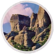 Meteora Greece Round Beach Towel