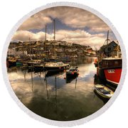 Mevagissy Harbour Round Beach Towel
