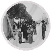 Mexico City - Alameda During Holy Week - C 1906 Round Beach Towel