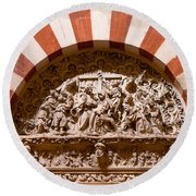Mezquita Cathedral Religious Carving Round Beach Towel