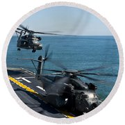 Mh-53e Sea Dragon Helicopters Take Round Beach Towel