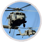 Mh-60s Sea Hawk Helicopters In Flight Round Beach Towel