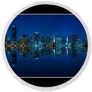 Miami Skyline Night Panorama Round Beach Towel