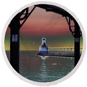 Michigan City Lighthouse 2 Round Beach Towel
