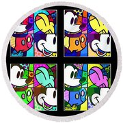 Mickey In Colors Round Beach Towel