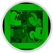 Mickey In Green Round Beach Towel