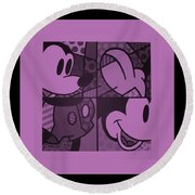 Mickey In Light Pink Round Beach Towel