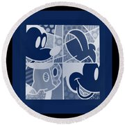 Mickey In Negative Deep  Blue Round Beach Towel