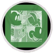 Mickey In Negative Olive Green Round Beach Towel
