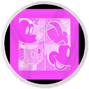 Mickey In Negative Pink Round Beach Towel