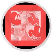 Mickey In Negative Red Round Beach Towel