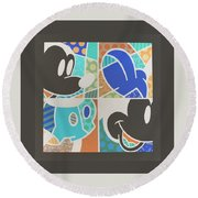 Mickey In Negative Round Beach Towel