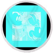 Mickey In Negative Turquois Round Beach Towel