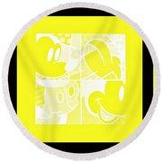 Mickey In Negative Yellow Round Beach Towel