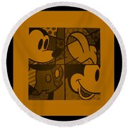 Mickey In Orange Round Beach Towel