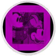 Mickey In Purple Round Beach Towel