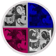 Mickey In Quad Colors Round Beach Towel
