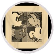 Mickey In Sepia Round Beach Towel