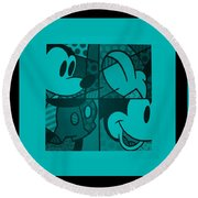 Mickey In Turquois Round Beach Towel
