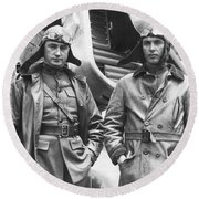 Mid-air Refueling Aviators At Rockwell Round Beach Towel