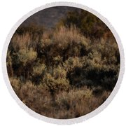 Midnight Sage Brush Round Beach Towel