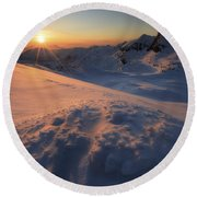Midnight Sun Above Lilletinden Round Beach Towel