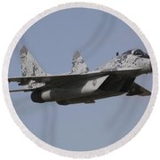 Mig-29 Of The Slovak Air Force Round Beach Towel