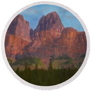 Mighty Mountains Round Beach Towel