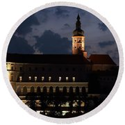 Mikulov Castle At Night Round Beach Towel by Michal Boubin