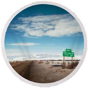 Milepost At The Dempster Highway Round Beach Towel
