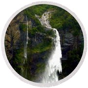 Milford Sound Waterfall Round Beach Towel