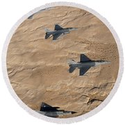 Military Fighter Jets Fly In Formation Round Beach Towel