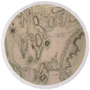 Military Plan Of The North Part Of Rhode Island Round Beach Towel