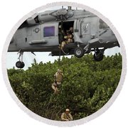 Military Reserve Navy Seals Demonstrate Round Beach Towel by Michael Wood