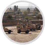 Military Vehicles Parked Outside Loy Round Beach Towel