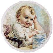 Milk Trade Card, 1893 Round Beach Towel