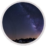 Milky Way And Perseid Meteor Shower Round Beach Towel