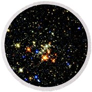 Milky Way Star Cluster Round Beach Towel