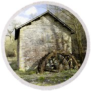Mill And Water-wheel Near Ashford-in-the-water Round Beach Towel