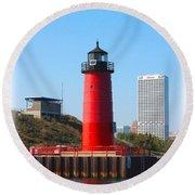 Milwaukee Harbor Lighthouse Round Beach Towel