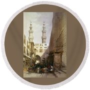 Minarets And Grand Entrance Of The Metwaleys At Cairo Round Beach Towel
