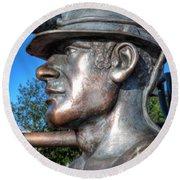 Miner Statue Round Beach Towel