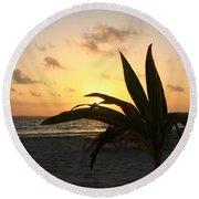 Mini Palm Hugging The Sun Round Beach Towel